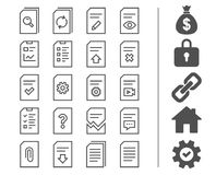 Document line icons. Report, Checklist and Copy. Document Management line icons. Set of Report, Checklist and Copy signs. Download file, Remove and Attach clip Stock Image