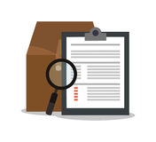 Document with lupe and seo design Stock Images