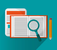 Document with lupe and seo design Royalty Free Stock Photo