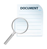 Document and magnification glass. Isolated Stock Image