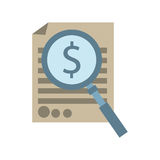 Document with magnifying glass icon image. Illustration Stock Photo
