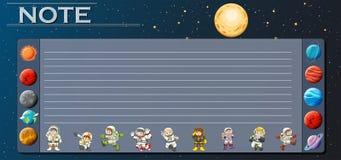 Document malplaatje met planeten in heelal vector illustratie