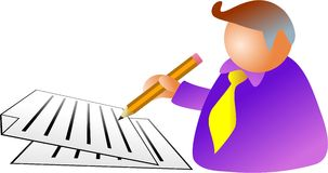 Document man. Business man signing a document - icon people series Stock Photos