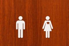 Document man en vrouw met hart Liefde, relatieconcept Royalty-vrije Stock Foto's
