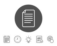 Document Management line icon. File sign. Document Management line icon. Information File sign. Paper page concept symbol. Report, Clock and Calendar line signs Royalty Free Stock Photography