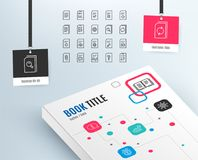 Document line icons. Report, Checklist and Copy. Document Management line icons. Set of Report, Checklist and Copy signs. Download file, Remove and Attach clip Royalty Free Stock Photography