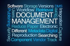 Document Management Word Cloud stock photography
