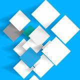 Document met schaduw op een blauwe achtergrond Stock Afbeeldingen