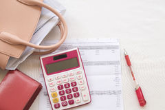 Document monthly expense of credit card Royalty Free Stock Images