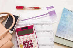 Document monthly expense of credit card Royalty Free Stock Image