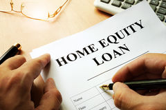 Document with name home equity loan. Document with name home equity loan on a desk royalty free stock photos