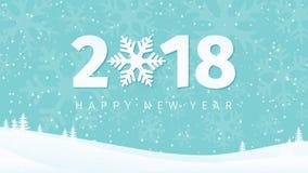 Document 2018 Nieuwjarenaantallen op de minimale achtergrond van het de winterlandschap met sneeuwvloksilhouetten, bomen en dalen Royalty-vrije Stock Foto