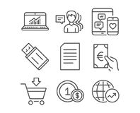 Document, Online statistics and Finance icons. People, Usd coins and Online market signs. Set of Document, Online statistics and Finance icons. People, Usd Stock Image