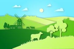 Document ontwerpgebieden en eco van de weideillustratie natuurlijk de landbouwconcept De vector vlakke illustratie van het landbo Stock Fotografie