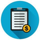 Document over het pictogram van de geldcirkel Royalty-vrije Stock Afbeeldingen
