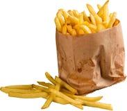 Document pakket van frieten op wit wordt geïsoleerd dat stock fotografie