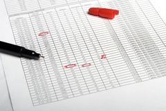 Document & pen 3. Photo of document & red pen Stock Images