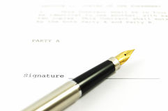 A document and a pen Stock Image