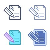 Document with pen and prescription symbol. Medicine vector outli Royalty Free Stock Images