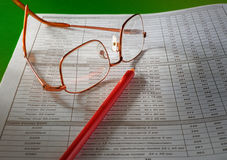 Document a pencil, glasses Stock Image