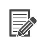Document With Pencil Icon Stock Photography