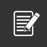 Document with pencil pictogram icon. Simple flat illustration for business, marketing internet concept on black background. Trendy modern vector symbol for web Royalty Free Stock Photo