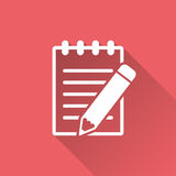 Document with pencil pictogram icon. Royalty Free Stock Images