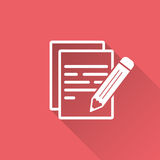 Document with pencil pictogram icon. Royalty Free Stock Photography