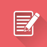 Document with pencil pictogram icon. Stock Images