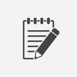 Document with pencil pictogram icon. Stock Photo
