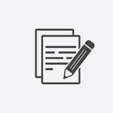 Document with pencil pictogram icon. Royalty Free Stock Photo