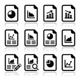 Document with pie chart, graph icons set Stock Photos