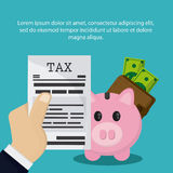 Document piggy wallet bill icon. Tax design. colorful and flat illustration Royalty Free Stock Photography