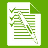 Document with plan and pen icon green. Document with plan and pen icon white isolated on green background. Vector illustration Royalty Free Stock Photos