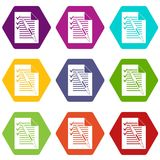 Document with plan and pen icon set color hexahedron. Document with plan and pen icon set many color hexahedron isolated on white vector illustration Royalty Free Stock Photo