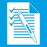 Document with plan and pen icon white Royalty Free Stock Photography