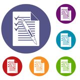 Document with plan and pen icons set Royalty Free Stock Photo