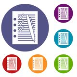 Document with plan and pen icons set Royalty Free Stock Photography