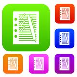 Document with plan and pen set collection. Document with plan and pen set icon in different colors isolated vector illustration. Premium collection Royalty Free Stock Image