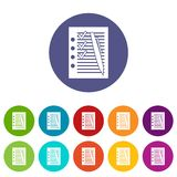 Document with plan and pen set icons Stock Image