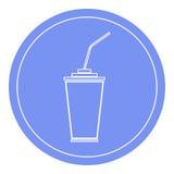 Document of plastic kop met het drinken stropictogram Blauwe cirkelachtergrond Royalty-vrije Stock Fotografie