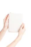Document pour dessiner dans des mains d'isolement Photo libre de droits