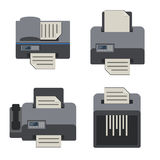 Document printing and office device icon set. Vector Flat design Stock Image