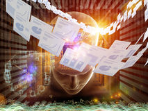 Document Processing. Collage of human head, documents and various abstract elements on the subject of document processing, office work and modern technologies Stock Photo