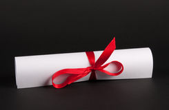 Document with red line. White document paper with red line isolated pn black royalty free stock photography