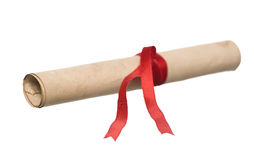 Document with red ribbon Royalty Free Stock Image