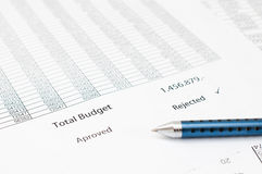 Document rejected budget Stock Images