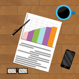 Document report file on wooden table. Vector result profit, economy and chart illustration Stock Photo