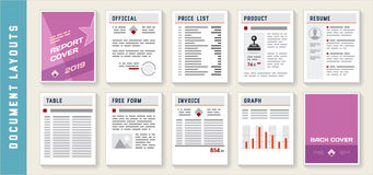 Document Report Layout Templates Set Stock Photography