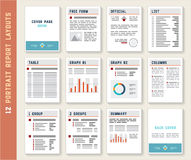 Document Report Portrait Layout Templates Mockup Set Stock Photo